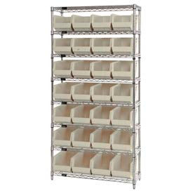 268928BG Chrome Wire Shelving With 28 Giant Plastic Stacking Bins Ivory, 36x14x74