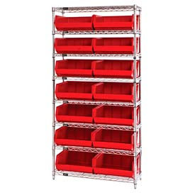 268929RD Chrome Wire Shelving With 14 Giant Plastic Stacking Bins Red, 36x14x74
