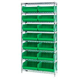 268929GN Chrome Wire Shelving With 14 Giant Plastic Stacking Bins Green, 36x14x74