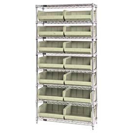 268929BG Chrome Wire Shelving With 14 Giant Plastic Stacking Bins Ivory, 36x14x74