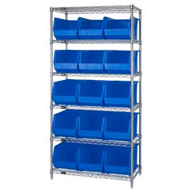 268931BL Chrome Wire Shelving With 15 Giant Plastic Stacking Bins Blue, 36x18x74