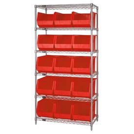 268931RD Chrome Wire Shelving With 15 Giant Plastic Stacking Bins Red, 36x18x74