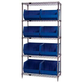 268933BL Chrome Wire Shelving With 8 Giant Plastic Stacking Bins Blue, 36x18x74