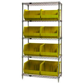 268933YL Chrome Wire Shelving With 8 Giant Plastic Stacking Bins Yellow, 36x18x74