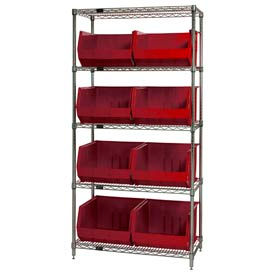 268933RD Chrome Wire Shelving With 8 Giant Plastic Stacking Bins Red, 36x18x74