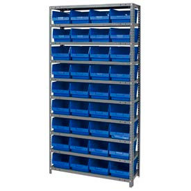 "652798BL Steel Shelving With 36 4""H Plastic Shelf Bins Blue, 36x18x75-13 Shelves"