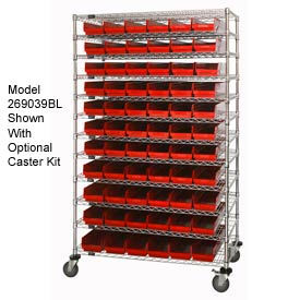 "269031RD Chrome Wire Shelving with 110 4""H Plastic Shelf Bins Red, 48x14x74"