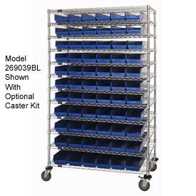 "269054BL Chrome Wire Shelving with 110 4""H Plastic Shelf Bins Blue, 72x18x74"
