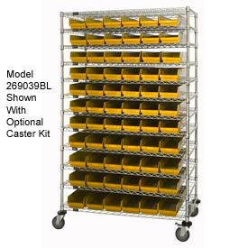 "269057YL Chrome Wire Shelving with 110 4""H Plastic Shelf Bins Yellow, 24x72x74"