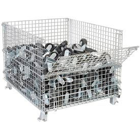 "269411-Folding Wire Container GC404830E4 48x40x36-1/2 3000-4000 Lb Cap.Drop Gate 40"" Side"