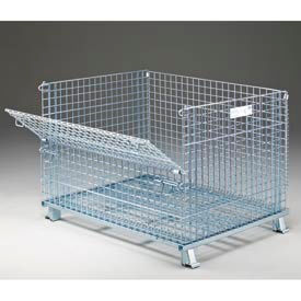 "GC404830S4 Folding Wire Container GC404830S4 48x40x36-1/2 3000-4000 Lb Cap.Drop Gate 48"" Side"