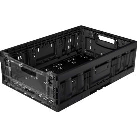 collapsible heavy duty large crate clear side wall 23-5/8x15-11/16x8-3/16 black