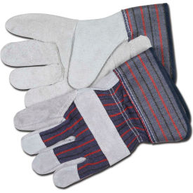 "12010 Memphis; Leather Palm Gloves with 2-1/2"" Rubberized Safety Cuff, Size L, 1 Dozen"