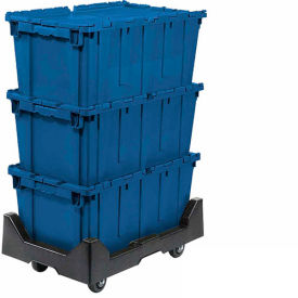 257814BLP Attached Lid Shipping Container 27-3/16 x 16-5/8 x 12-1/2 Blue with Dolly Combo