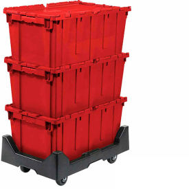 257814RDP Attached Lid Shipping Container 27-3/16 x 16-5/8 x 12-1/2 Red with Dolly Combo