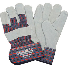 "708123L Global; Leather Palm Safety Gloves with 2-1/2"" Safety Cuff, Large, 1 Pair"