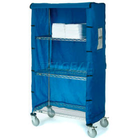 "436914 Nexel; Chrome Wire Linen Cart with Nylon Cover, 4 Shelves, 36""L x 24""W x 69""H"