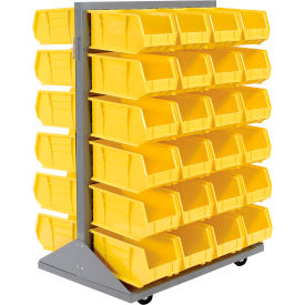550180YL Mobile Double Sided Floor Rack With 48 Yellow Stacking Bins 36 x 54