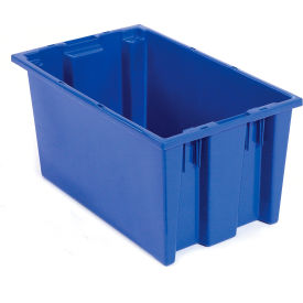 SNT180BL Plastic Shipping Containers - Stackable & Nesting SNT180 No Lid 18 x 11 x 6, Blue