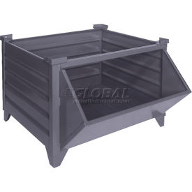 "topper stackable steel container 51008gyhf solid, hopper front, 48""l x 35""w x 24""h, gray Global Industrial™ Stackable Steel Container 51008GYHF Solid, Hopper Front, 48""Lx35""Wx24""H, Gray"