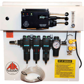 air systems international 30 cfm grade-d breathing air panel, 2 outlets, hansen fitting, bb30-copm