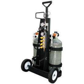 air systems 2-cylinder multi-pak™ small cylinder air cart, 4 outlets, 4500 psi, hansen, mp-4h