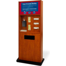 braeside  preventionist deluxe six-in-one infection control kiosk, cherry Braeside  Preventionist Deluxe Six-In-One Infection Control Kiosk, Cherry
