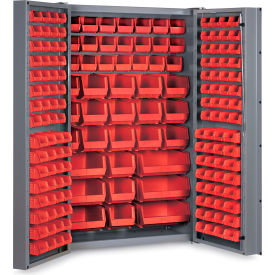 "DC48-176-1795G Bin Cabinet Deep Door with 176 Red Bins, 16 Ga. All-Welded Cabinet 48""W x 24""D x 72""H, Gray"