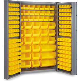 "DC48-176-95G Bin Cabinet Deep Door with 176 Yellow Bins, 16 Ga. All-Welded Cabinet 48""W x 24""D x 72""H, Gray"