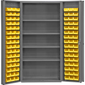 "DC-DLP-96-4S-95G Bin Cabinet Deep Door with 96 Yellow Bins, 16 Ga. All-Welded Cabinet 36""W x 24""D x 72""H, Gray"