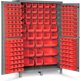 "JC-171-1795G Bin Cabinet Flush Door with 171 Red Bins, 16 Ga. All-Welded Cabinet 48""W x 24""D x 78""H, Gray"