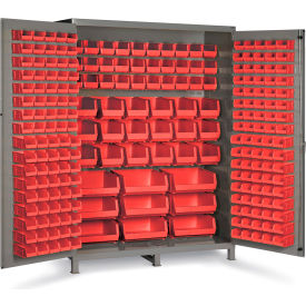 "SSC-227-1795G Bin Cabinet Flush Door with 227 Red Bins, 16 Ga. All-Welded Cabinet 60""W x 24""D x 84""H, Gray"