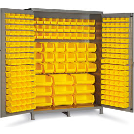 "SSC-227-95G Bin Cabinet Flush Door with 227 Yellow Bins, 16 Ga. All-Welded Cabinet 60""W x 24""D x 84""H, Gray"
