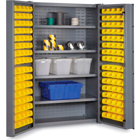 "DC48-128-4S-95G Bin Cabinet Deep Door with 128 Yellow Bins, 16 Ga. All-Welded Cabinet 48""W x 24""D x 72""H, Gray"