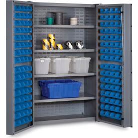 "DC48-128-4S-5295G Bin Cabinet Deep Door with 128 Blue Bins, 16 Ga. All-Welded Cabinet 48""W x 24""D x 72""H, Gray"