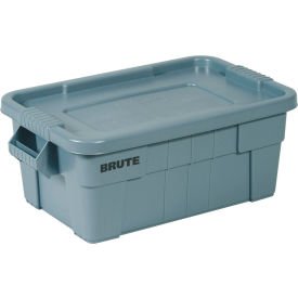 FG9S3000GRAY Rubbermaid 14 Gallon Brute Tote with Lid FG9S3000GRAY -  27-1/2 x 16-3/4 x 10-3/4  - Gray