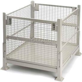 "davco kd2gw-01 collapsible wire mesh steel container40-1/2""x34-1/2""x32"" 2 gates zinc-galv"
