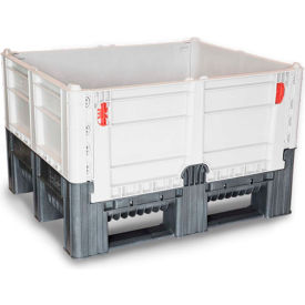 "decade dfc quick assembly folding container solid wall 48""l x 40""w x 29""h 1650 lb capacity gray"