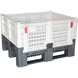 "decade dfc quick assembly folding container vented wall 48""l x 40""w x 29""h 1650 lb capacity gray"