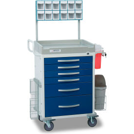 detecto® loaded rescue series anesthesiology medical cart, white frame with 6 blue drawers Detecto® Loaded Rescue Series Anesthesiology Medical Cart, White Frame with 6 Blue Drawers