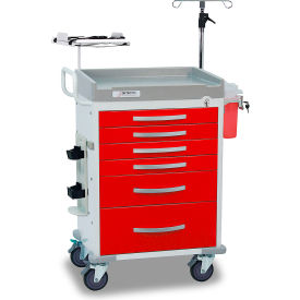 detecto® loaded rescue series emergency room medical cart, white frame with 6 red drawers Detecto® Loaded Rescue Series Emergency Room Medical Cart, White Frame with 6 Red Drawers