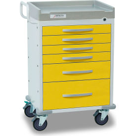 detecto® rescue series isolation medical cart, white frame with 6 yellow drawers Detecto® Rescue Series Isolation Medical Cart, White Frame with 6 Yellow Drawers