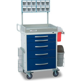 detecto® loaded rescue series anesthesiology medical cart, white frame with 5 blue drawers Detecto® Loaded Rescue Series Anesthesiology Medical Cart, White Frame with 5 Blue Drawers