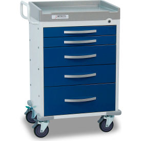 detecto® rescue series anesthesiology medical cart, white frame with 5 blue drawers Detecto® Rescue Series Anesthesiology Medical Cart, White Frame with 5 Blue Drawers