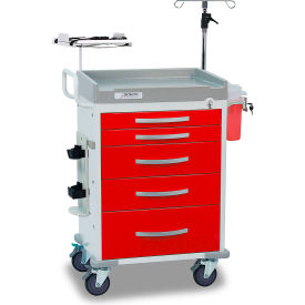 detecto® loaded rescue series emergency room medical cart, white frame with 5 red drawers Detecto® Loaded Rescue Series Emergency Room Medical Cart, White Frame with 5 Red Drawers