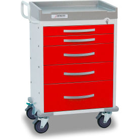 detecto® rescue series emergency room medical cart, white frame with 5 red drawers Detecto® Rescue Series Emergency Room Medical Cart, White Frame with 5 Red Drawers
