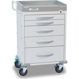 detecto® rescue series general purpose medical cart, white frame with 5 white drawers Detecto® Rescue Series General Purpose Medical Cart, White Frame with 5 White Drawers