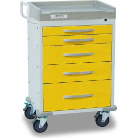 detecto® rescue series isolation medical cart, white frame with 5 yellow drawers Detecto® Rescue Series Isolation Medical Cart, White Frame with 5 Yellow Drawers