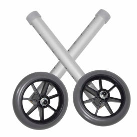 "10109 Universal 5"" Walker Wheels, Silver Tubing, Gray Tire and Silencer, 1 Pair"