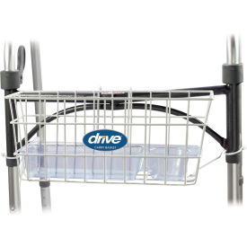 10200B Drive Medical Walker Basket 10200B, Included Plastic Insert Tray & Cup Holder, Aluminum, White
